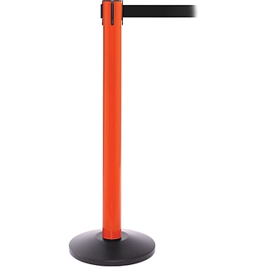 SafetyPro 300 Orange Stanchion Barrier Post with Retractable 16' Black Belt