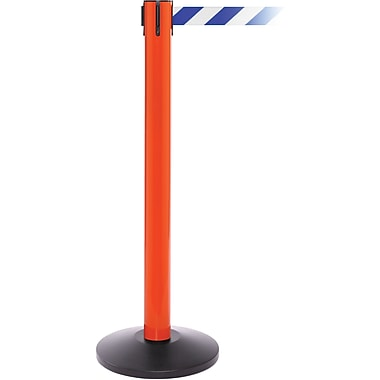 SafetyPro 300 Orange Stanchion Barrier Post with Retractable 16' Blue/White Belt