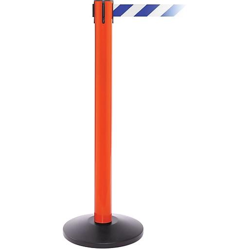 SafetyPro 300 Orange Stanchion Barrier Post with Retractable 16' Blue/White Belt
