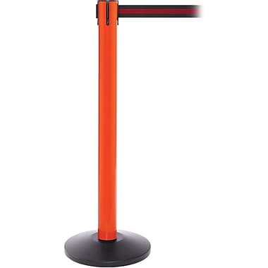 SafetyPro 300 Orange Stanchion Barrier Post with Retractable 16' Black/Red Belt