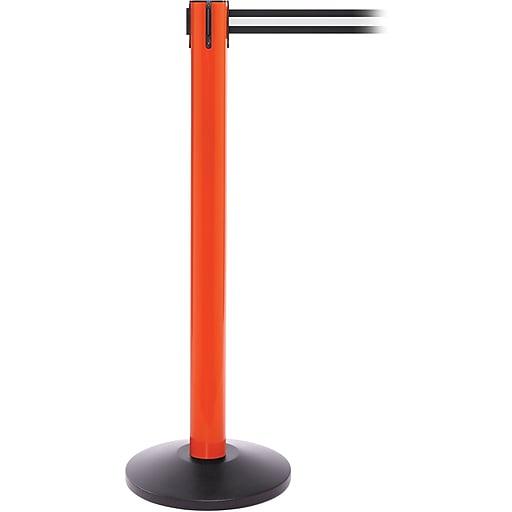 SafetyPro 300 Orange Stanchion Barrier Post with Retractable 16' Black/White Belt