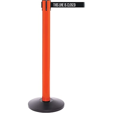 SafetyPro 300 Orange Stanchion Barrier Post with Retractable 16' Black/White LINE Belt