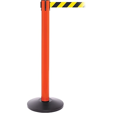 SafetyPro 300 Orange Retractable Belt Barrier with 16' Black/Yellow Belt