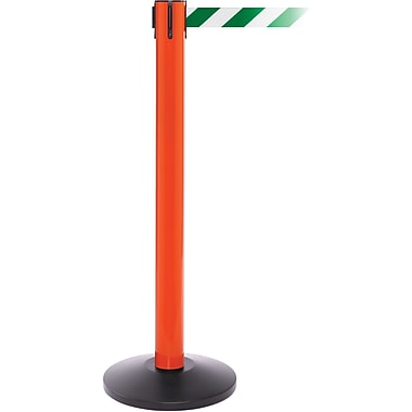 SafetyPro 300 Orange Stanchion Barrier Post with Retractable 16' Green/White Belt