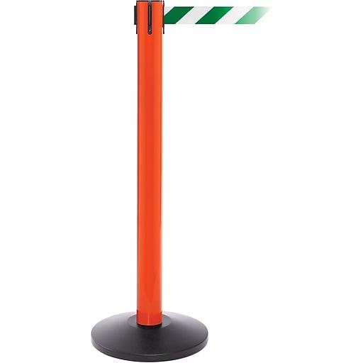SafetyPro 300 Orange Stanchion Barrier Post with Retractable 16' Green/White Belt