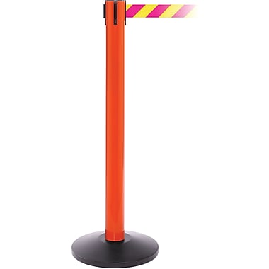 SafetyPro 300 Orange Stanchion Barrier Post with Retractable 16' Yellow/Magenta Belt