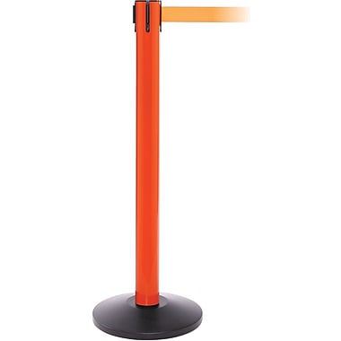 SafetyPro 300 Orange Stanchion Barrier Post with Retractable 16' Orange Belt