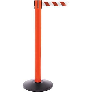 SafetyPro 300 Orange Stanchion Barrier Post with Retractable 16' Red/White Belt