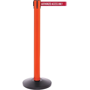 SafetyPro 300 Orange Stanchion Barrier Post with Retractable 16' Red/White AUTHORIZED Belt