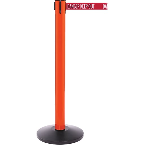 SafetyPro 300 Orange Stanchion Barrier Post with Retractable 16' Red/White DANGER Belt
