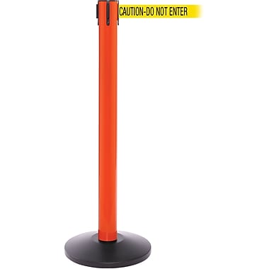 SafetyPro 300 Orange Retractable Belt Barrier with 16' Yellow/Black DO NOT ENTER Belt