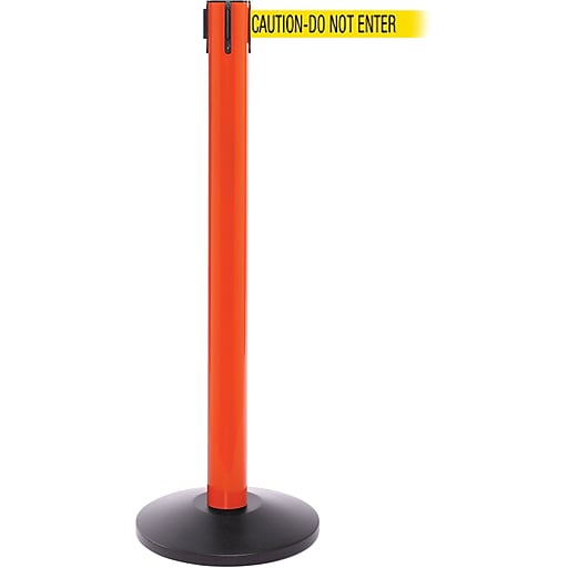 SafetyPro 300 Orange Stanchion Barrier Post with Retractable 16' Yellow/Black DO NOT ENTER Belt