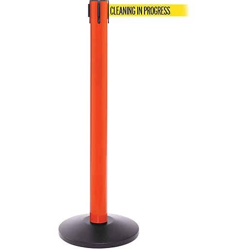 SafetyPro 300 Orange Stanchion Barrier Post with Retractable 16' Yellow/Black CLEAN Belt