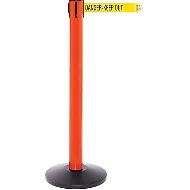 SafetyPro 300 Orange Stanchion Barrier Post with Retractable 16' Yellow/Black DANGER Belt