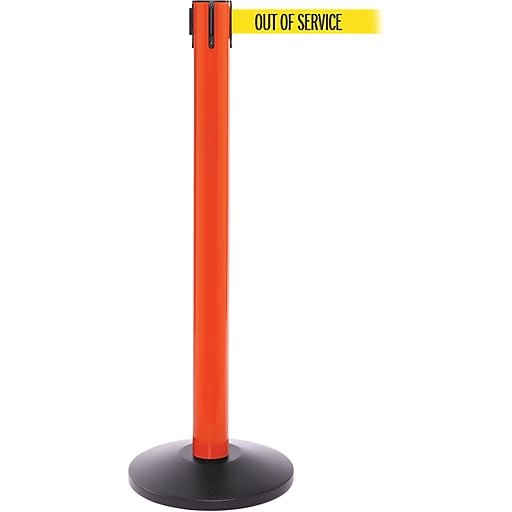 SafetyPro 300 Orange Stanchion Barrier Post with Retractable 16' Yellow/Black OUT OF SERV Belt