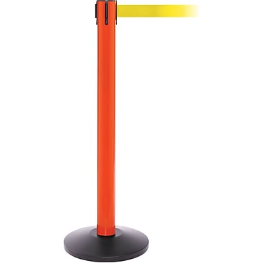 SafetyPro 300 Orange Stanchion Barrier Post with Retractable 16' Yellow Belt