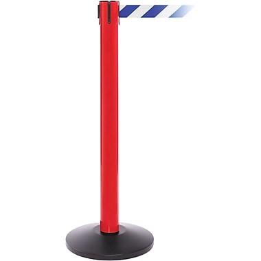 SafetyPro 300 Red Stanchion Barrier Post with Retractable 16' Blue/White Belt