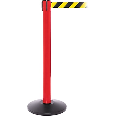 SafetyPro 300 Red Stanchion Barrier Post with Retractable 16' Black/Yellow Belt