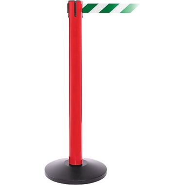 SafetyPro 300 Red Stanchion Barrier Post with Retractable 16' Green/White Belt
