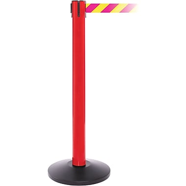 SafetyPro 300 Red Stanchion Barrier Post with Retractable 16' Yellow/Magenta Belt