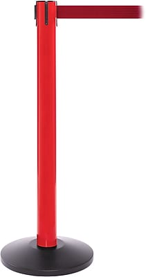 SafetyPro 300 Red Stanchion Barrier Post with Retractable 16' Red Belt