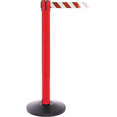 SafetyPro 300 Red Retractable Belt Barrier with 16' Red/White Belt