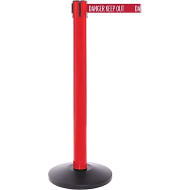 SafetyPro 300 Red Stanchion Barrier Post with Retractable 16' Red/White DANGER Belt