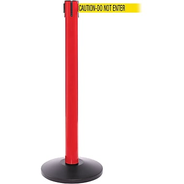 SafetyPro 300 Red Stanchion Barrier Post with Retractable 16' Yellow/Black DO NOT ENTER Belt