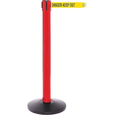 SafetyPro 300 Red Stanchion Barrier Post with Retractable 16' Yellow/Black DANGER Belt