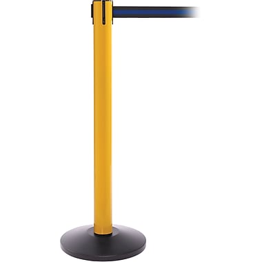SafetyPro 300 Yellow Stanchion Barrier Post with Retractable 16' Black/Blue Belt