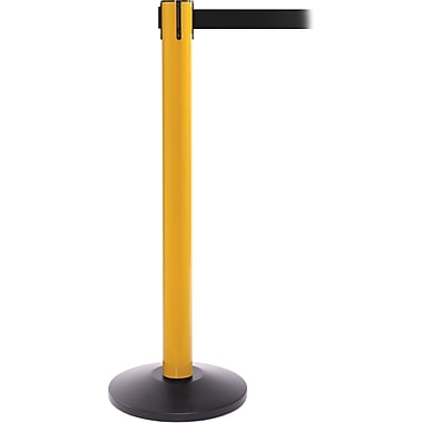 SafetyPro 300 Yellow Stanchion Barrier Post with Retractable 16' Black Belt