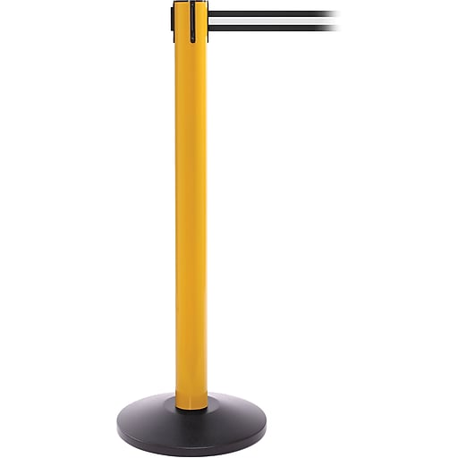 SafetyPro 300 Yellow Stanchion Barrier Post with Retractable 16' Black/White Belt