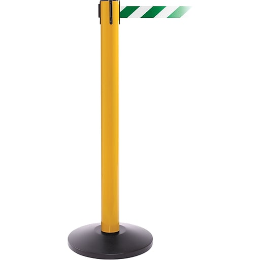 SafetyPro 300 Yellow Stanchion Barrier Post with Retractable 16' Green/White Belt