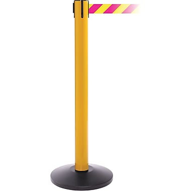 SafetyPro 300 Yellow Stanchion Barrier Post with Retractable 16' Yellow/Magenta Belt