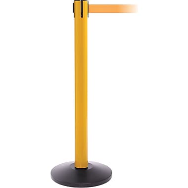 SafetyPro 300 Yellow Stanchion Barrier Post with Retractable 16' Orange Belt