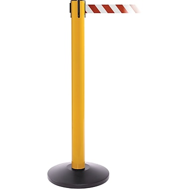 SafetyPro 300 Yellow Stanchion Barrier Post with Retractable 16' Red/White Belt