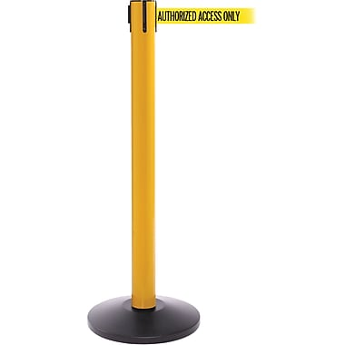 SafetyPro 300 Yellow Stanchion Barrier Post with Retractable 16' Yellow/Black AUTHORIZED Belt