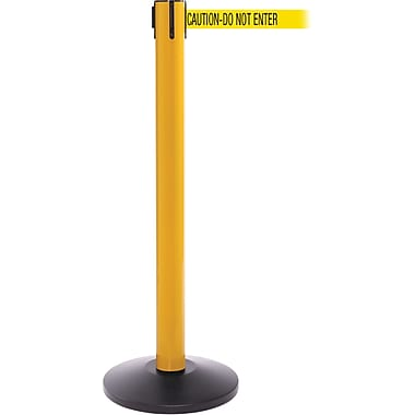 SafetyPro 300 Yellow Stanchion Barrier Post with Retractable 16' Yellow/Black DO NOT ENTER Belt