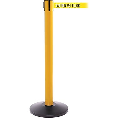 SafetyPro 300 Yellow Stanchion Barrier Post with Retractable 16' Yellow/Black WET FLOOR Belt