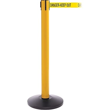 SafetyPro 300 Yellow Stanchion Barrier Post with Retractable 16' Yellow/Black DANGER Belt
