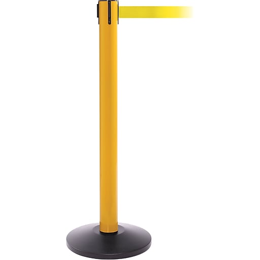 SafetyPro 300 Yellow Stanchion Barrier Post with Retractable 16' Yellow Belt