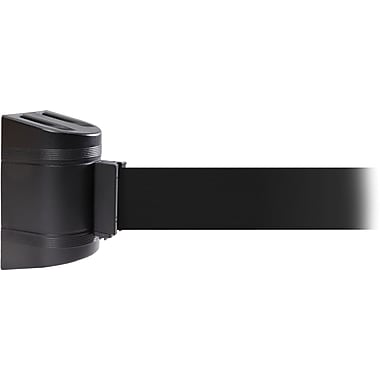 WallPro 300 Black Wall Mount Belt Barrier with 13' Black Belt