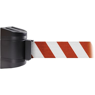 WallPro 300 Black Wall Mount Belt Barrier with 13' Red/White Belt
