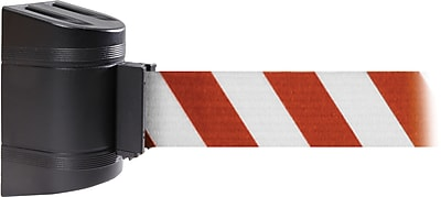 WallPro 300 Black Wall Mount Belt Barrier with 10' Red/White Belt