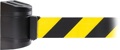 WallPro 300 Black Wall Mount Belt Barrier with 13' Yellow/Black Belt