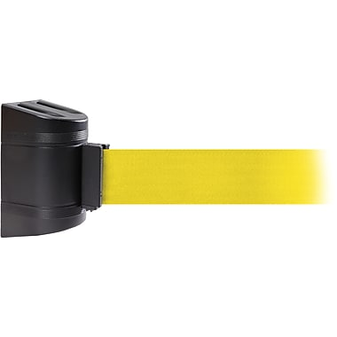 WallPro 300 Black Wall Mount Belt Barrier with 10' Yellow Belt