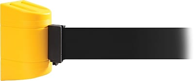 WallPro 300 Yellow Wall Mount Belt Barrier with 13' Black Belt