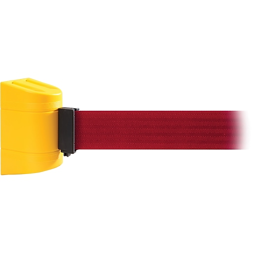 WallPro 300 Yellow Wall Mount Belt Barrier with 13' Red Belt