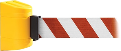 WallPro 300 Yellow Wall Mount Belt Barrier with 13' Red/White Belt