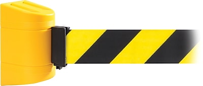WallPro 300 Yellow Wall Mount Belt Barrier with 10' Yellow/Black Belt